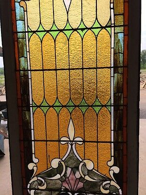 """antique Stained Glass Landing Window 36"""" X 8' 3"""