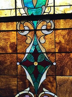 """Ca 10 Antique Stained Glass Landing Window With Jules 36"""" X 8' 3"""