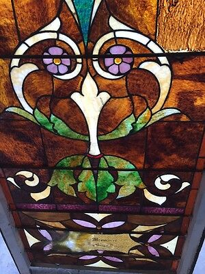 """Ca 10 Antique Stained Glass Landing Window With Jules 36"""" X 8' 4"""