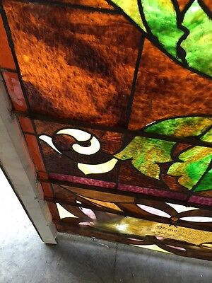 """Ca 10 Antique Stained Glass Landing Window With Jules 36"""" X 8' 11"""