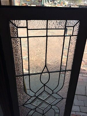 Sg 582 Antique Textured Glass Beveled Glass Center Transom Window 2