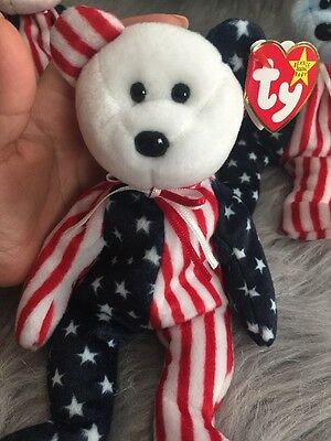 TY BEANIE BABY Babies 1999 SPANGLE BLUE PINK WHITE FACE* ERROR, AUTHENTIC, RARE