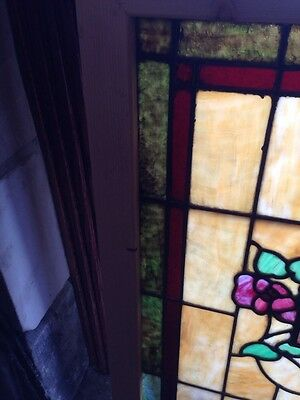 Sg 120 Antique Stain Glass Windows Roses And Foliage 3