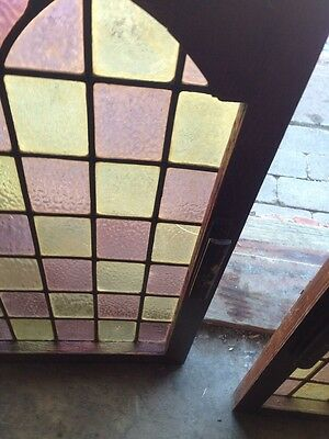 Sg 110 One Pair Antique Stain Glass Cabinet Doors With Nice Brass Hinges 4