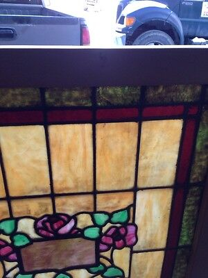 Sg 120 Antique Stain Glass Windows Roses And Foliage 5