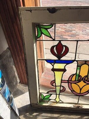 Sg 561 Antique Olympic Torches Stainglass Window Beautiful Colors 2