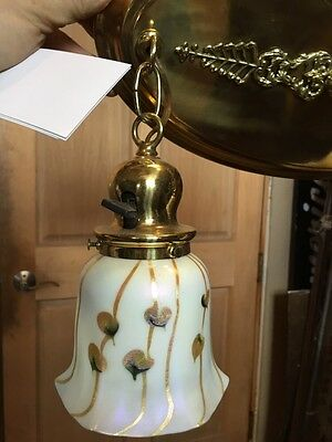 Lt 71 Fancy 2Arm Art Glass Refinished Chandelier Brass Antique Rewired 3