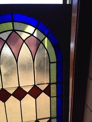 Sg 135 Antique Arched Top Stained Glass Window 33.375 X 63.375 3