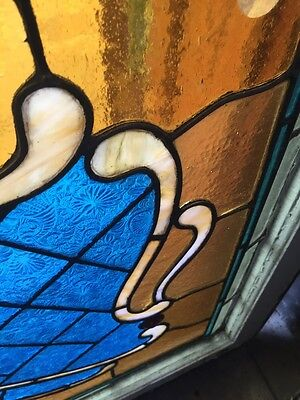 Sg 694 Antique Stained Glass Transom With Jewels 9
