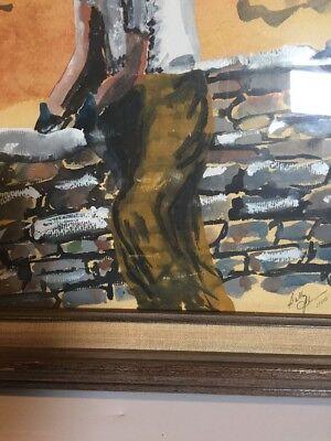 Original Painting Watercolor Man Building Stone Wall Primitive Framed Vintage 9