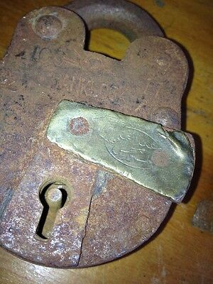 Vtg Antique Iron Padlock w/ Key Arabic Muslim Ottoman Brass Jail Bank Lock Works 2