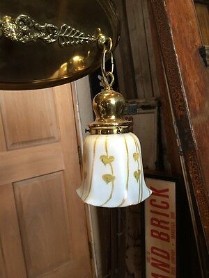 Lt 71 Fancy 2Arm Art Glass Refinished Chandelier Brass Antique Rewired 4
