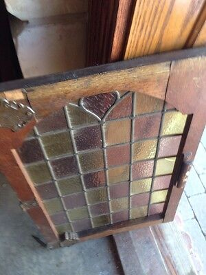 Sg 110 One Pair Antique Stain Glass Cabinet Doors With Nice Brass Hinges