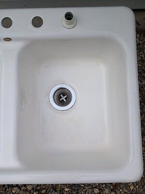 Vintage Cast Iron Porcelain Sink Eljer 100lbs Double W/4 Holes-Stainless Drains 8