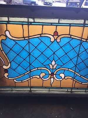 Sg 694 Antique Stained Glass Transom With Jewels 3