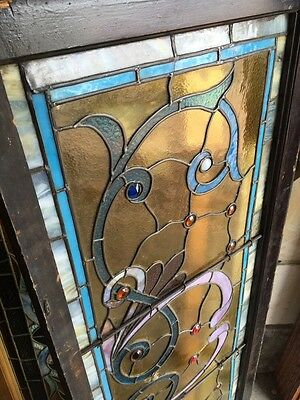 St 595 Gorgeous Antique Victorian Stainglass Window Many Jewels 10