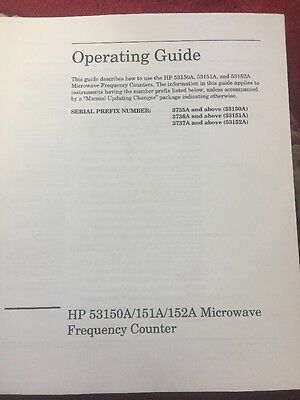 HP 53150A 151A 152A Microwave Frequency Counter Operating Guide 5