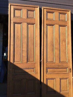 "Ar 139 1 Set Antique Raised Panel Pine Pocket Doors 70"" X 106"" 8"
