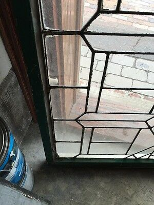 "Sg 627 Antique Leaded Glass Transom Window 21.25 X 34.25"" 4"