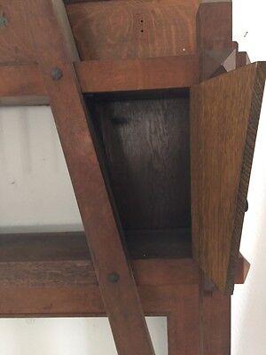 Antique Quartersawn Oak Fancy Mission Mantle With Clock 7