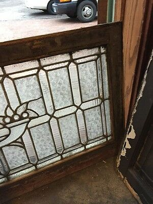 Sg 955 Antique Textured Glass Jeweled Transom