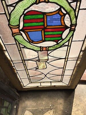 Sg 262 Antique Stained Glass Window Center Crest And Ribbon Design 4