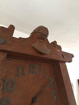 Antique Quartersawn Oak Fancy Mission Mantle With Clock 2
