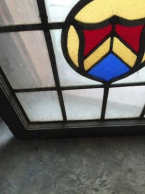 "Sg 670 Antique Stained Glass Shield Window 24.5 X 25"" High"