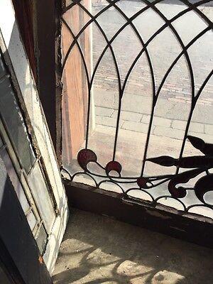 SG 445 Antique Transom Glass Window Hot Red Design 2