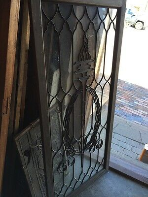 Sg 794 Antique Torch And Wreath Leaded Glass Window 9