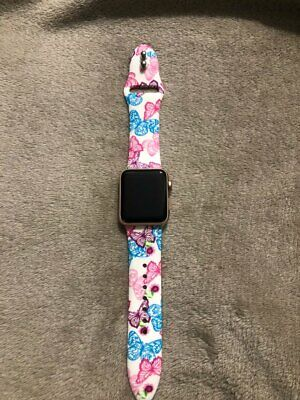 Silicone Strap For Apple Watch Series 4 3 2 1 Rose Flower Butterfly Leopard Band 7