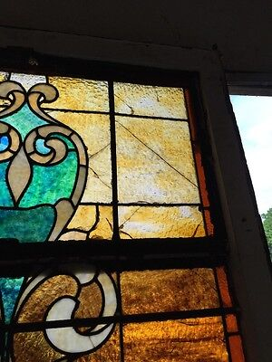 "Ca 11 Antique Stain Glass Window 36"" X 8' 7"