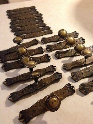 Spanish Victorian Design Textured Metal Drawer Pulls 9 & Hardware Plates 22 4