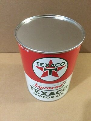 Texaco Motor Oil Can Rare Empty Quart Gas sign Reproduction Vintage Style 5
