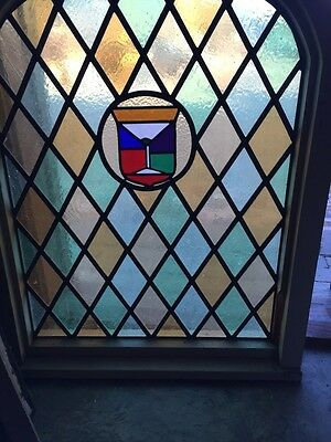 Sg 280 Antique Arched Stained Window 39 1/2 Inches High By 30 1/2 Inches Wide 3