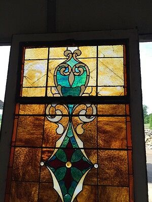 "Ca 11 Antique Stain Glass Window 36"" X 8' 2"