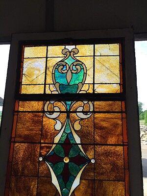 "Ca 11 Antique Stain Glass Window 36"" X 8' 2"