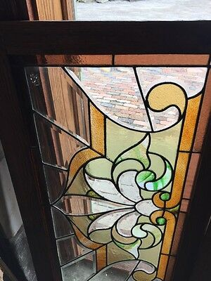 Sg 308 Two Available Price Each Antique Stained And Double Glass Transom Windows 2