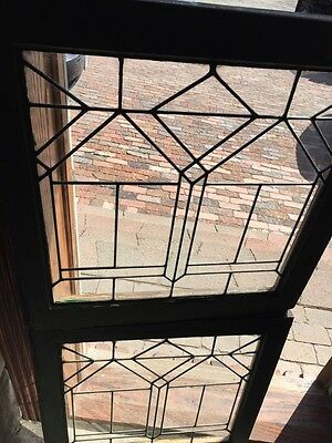 """Sg688 Two Available Price Separate Leaded Glass Windows Antique 24.25 X 25"""" High 2"""