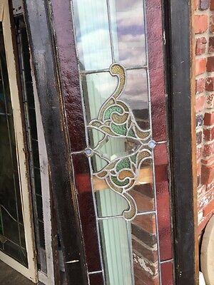 Sg 471 Antique Dual Jewel Transom Glass Window Beveled Center 8
