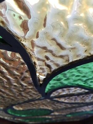 Sg 382 Antique Stainglass Window Green Waves 5