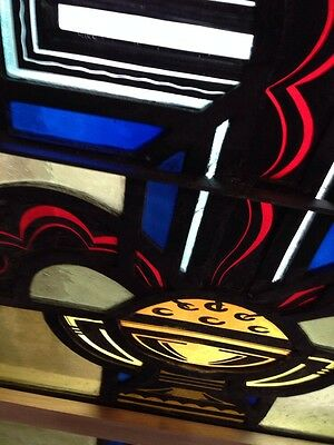 Sg 208 Antique Stained Glass And Painted And Fired Religious Window 7