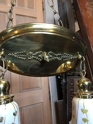 Lt 71 Fancy 2Arm Art Glass Refinished Chandelier Brass Antique Rewired 2