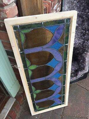 Sg 1483 Antique Stainglass Transom Window 16 X 38.5