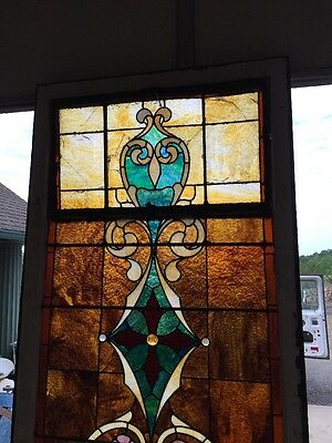 "Ca 9 Antique Stained Glass Landing Window 36"" X 8' 2"