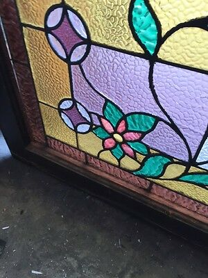 Sg 588 Antique Floral Vine Transom Window Beveled Glass Center 8