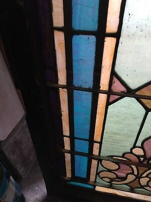 """Sg 403 Antique Stainglass Landing Window 27 In 0.125"""" X 44.5"""" Tall 4"""
