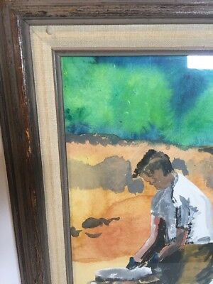 Original Painting Watercolor Man Building Stone Wall Primitive Framed Vintage 2