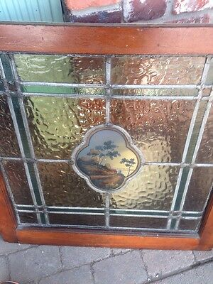Antique Stain Glass Window With The Center Portrait Of Trees And Water T4