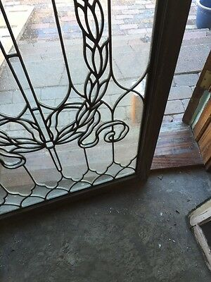 Sg 794 Antique Torch And Wreath Leaded Glass Window 8